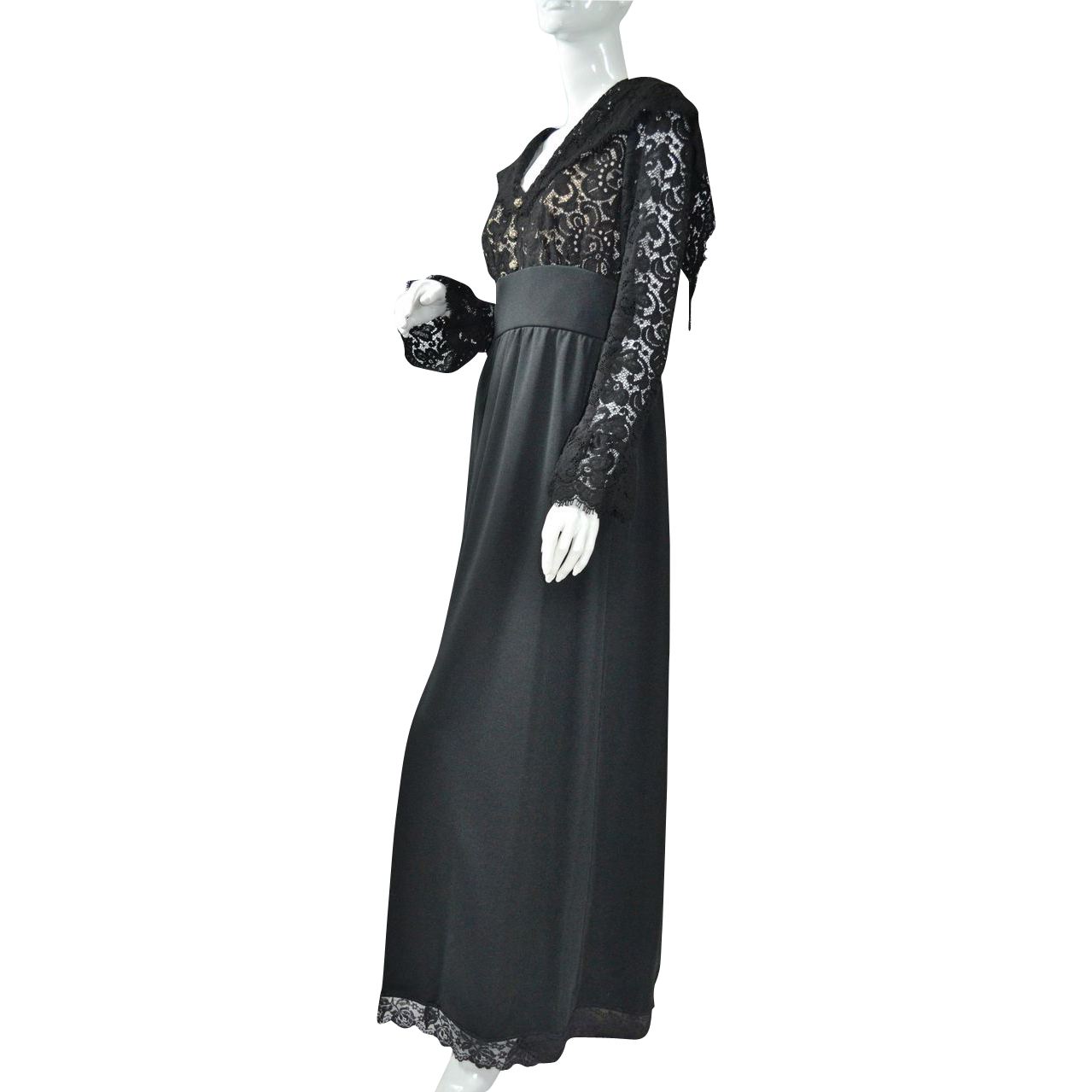 1960/70s Lord & Taylor ~ Black Lace Maxi Dress