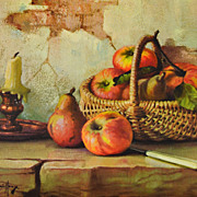 1950/60s Winde ~ Still Life w/ Apples Hardboard Art Print