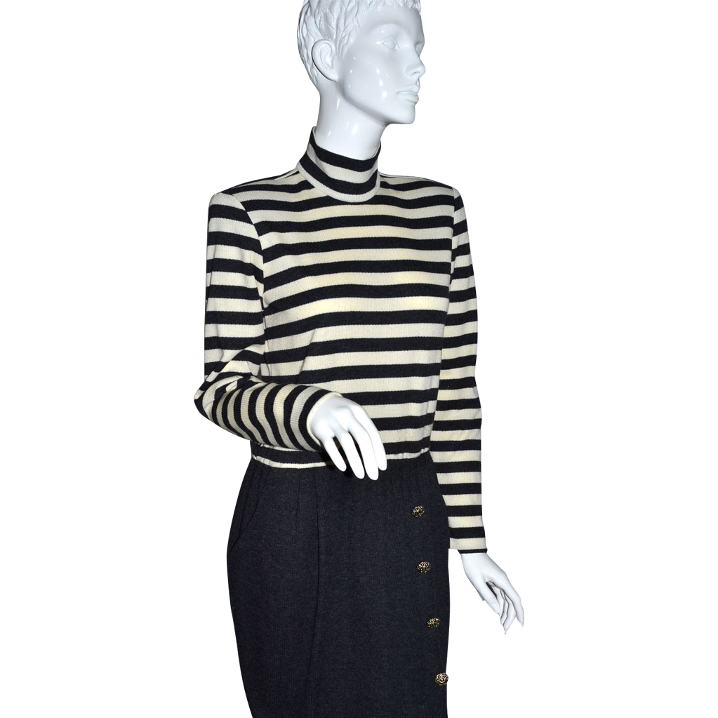 1980s Kwai ~ Deep Gray & Cream White-Striped Sweater Dress ~ USA