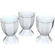 Set of 3 Octagonal White Porcelain Egg Cups