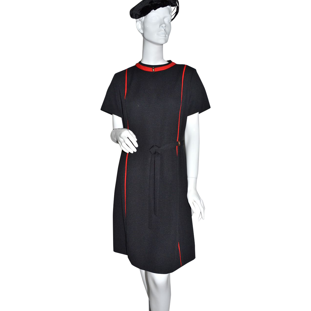 1960s Lorac ~ ILGWU Black & Red Shift Dress w/ Brass Accents