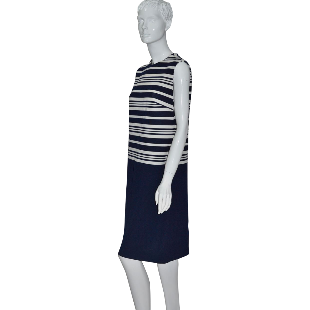 1960s Leslie Fay ~ Navy Blue Striped Shift Dress