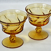 Fostoria ~ Jamestown ~ Set of 2 Amber Champagne/Tall Sherbet Glasses