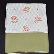 1970s Wamsutta ~ Pink Rose w/ Avocado Green Trim Double Flat Sheet