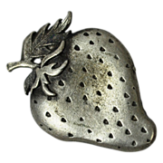 1980s Metzke ~ Pewter Strawberry Brooch/Pin