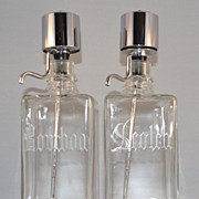 1950s Continental Say-When ~ Set of 2 Mid-Century Modern Chrome & Glass Liquor Decanters