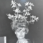 1960s Surreal Flower Bouquet in Hair ~ Orig 8x10 B/W Photograph
