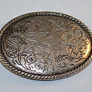 Etched Scrollwork Oval Belt Buckle