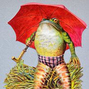 Embossed Frog w/ Umbrella Die-Cut Scrap