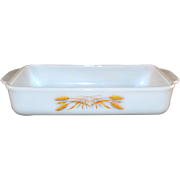 Fire-King Wheat Pattern White Milk Glass Casserole Pan / Baking Dish