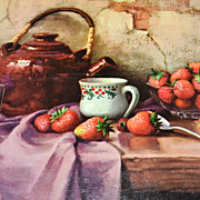 1950/60s Winde ~ Strawberries & Teapot Still Life Art Print