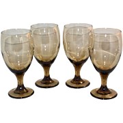 1970s Libbey Set of 4 Smoky Brown Topaz Iced Tea or Water Goblets
