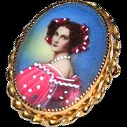 12K GF Italian Lady Oval Pendant/Pin
