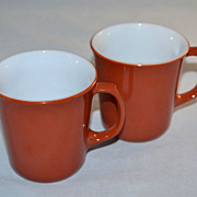 1970s Corning ~ Set of 2 Cinnamon Rust Milk Glass Mugs