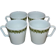 1970s Pyrex Crazy Daisy or Spring Blossom Set of 4 Milk Glass Mugs