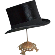 1900s Maurice L. Rothschild ~ Black Beaver Fur Top Hat w/ Box