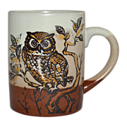 1970s Haunted Owl Pottery Mug