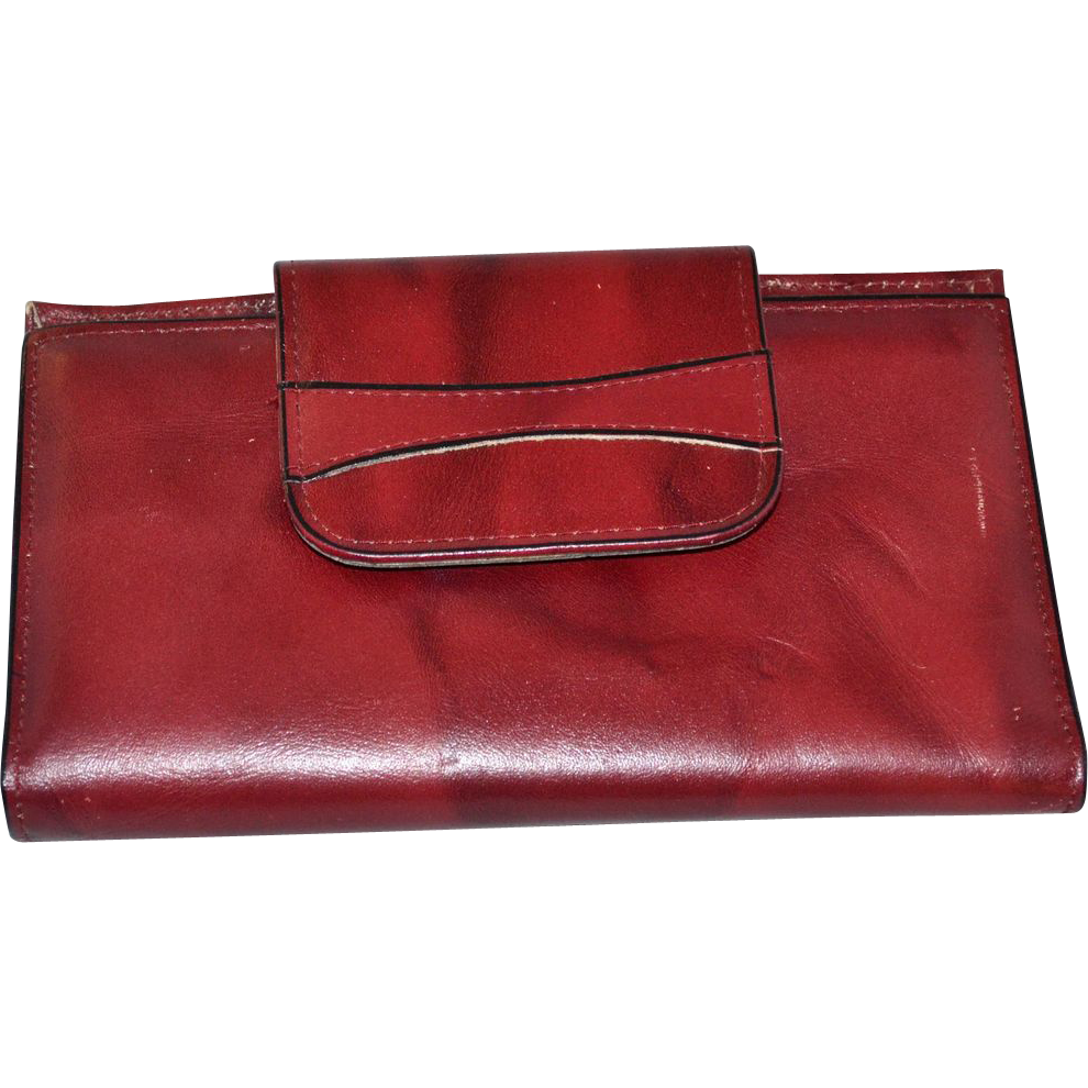1970s Amity ~ Burgundy Cowhide Leather Checkbook/Wallet