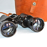 Large Black Binoculars w/ Original Leather Case
