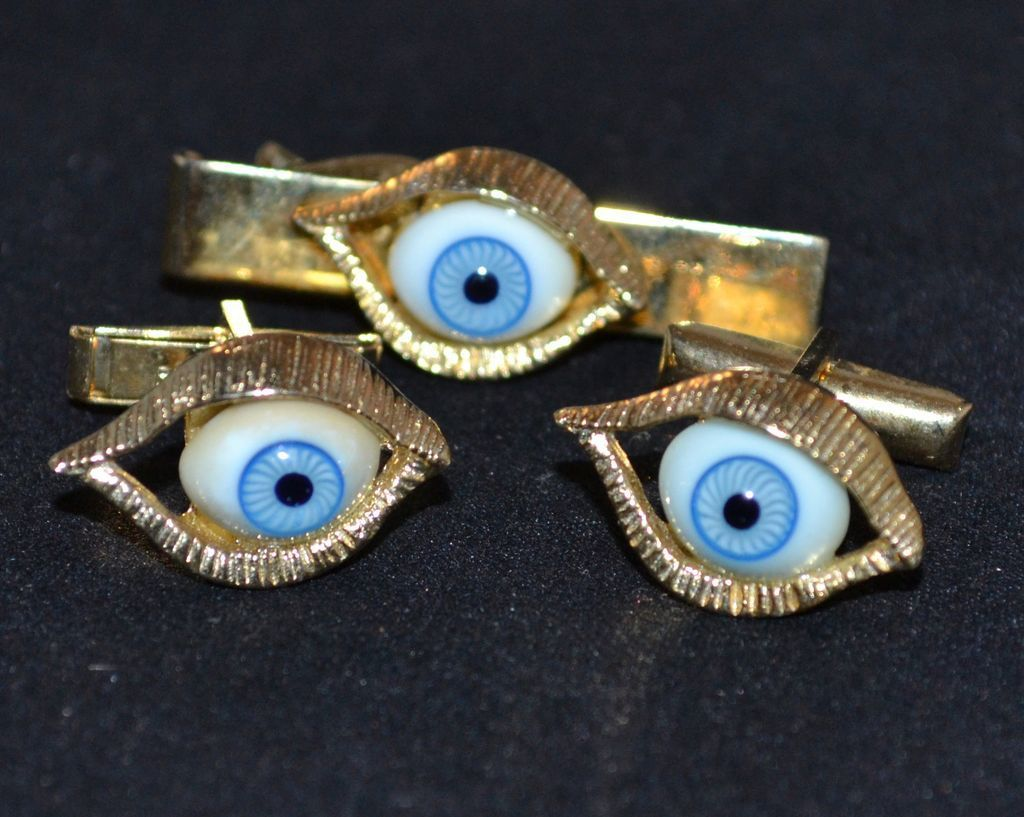 1960s Blue Glass Eye Cufflinks & Tie Tack Set