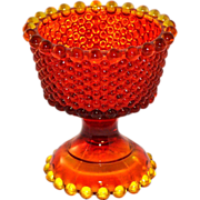 Amberina Orange Hobnail Glass Compote Vase
