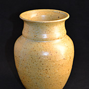 W. Glass ~ Speckled Mustard Yellow Pottery Vase