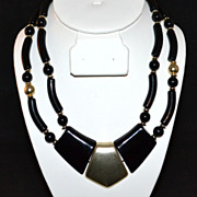 1960s Black Lucite Double Strand Bead Necklace