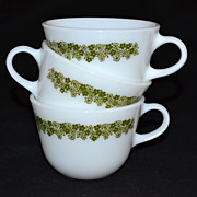 1970s Pyrex ~ Set of 3 Crazy Daisy or Spring Blossom Milk Glass Cups