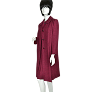 2-Pc Burgundy & Black Boucle Wool Coat & Dress Set