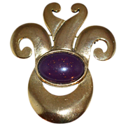 1970s Carol Dauplaise ~ Large Gemstone & Goldtone Brooch/Pin