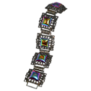 Ornate Iridescent Purple Glass Bracelet