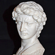 1960s Alabaster & Marble Michelangelo's David Neoclassical Sculpture