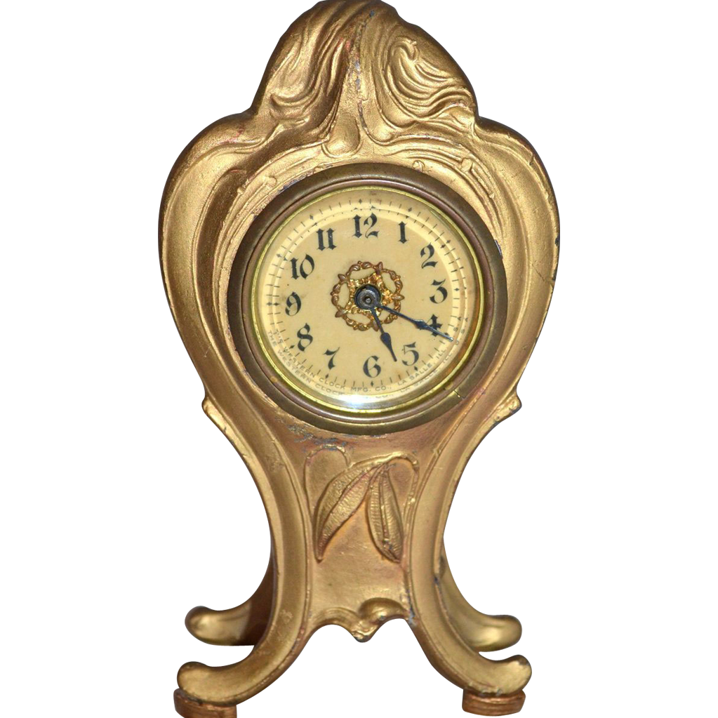 1920s Western Clock Co. ~ Art Nouveau Style Ornate Metal Table Clock