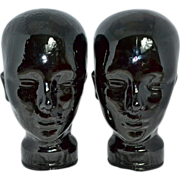Black Glass Mannequin Head for Wigs or Hats