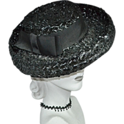 Union-Made Black Raffia Hat w/ Rolled Brim