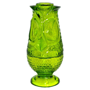 1970s Viking Glass ~ Lime Green Pressed Glass Owl Fairy Lamp