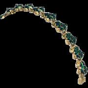 Green Enamel Frog Link Bracelet