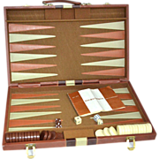 Reiss ~ Backgammon Game w/ Faux Leather Case, Instructions & Accessories