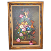 "Nancy Lee Signed Massive 43"" Still Life Vase of Flowers Framed Oil Painting"