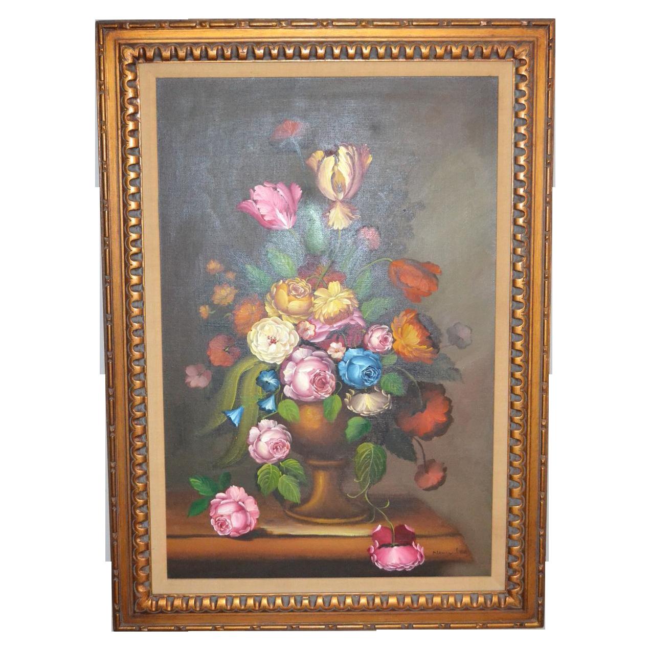 Nancy Lee Signed Massive 43 Quot Still Life Vase Of Flowers Framed Oil Black Widow Vintiques