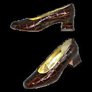 Valentina Rangoni ~ Crocodile Embossed Heel Pumps ~ Size 6B