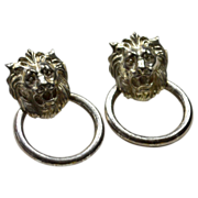 Lion Head Doorknocker Pierced Earrings