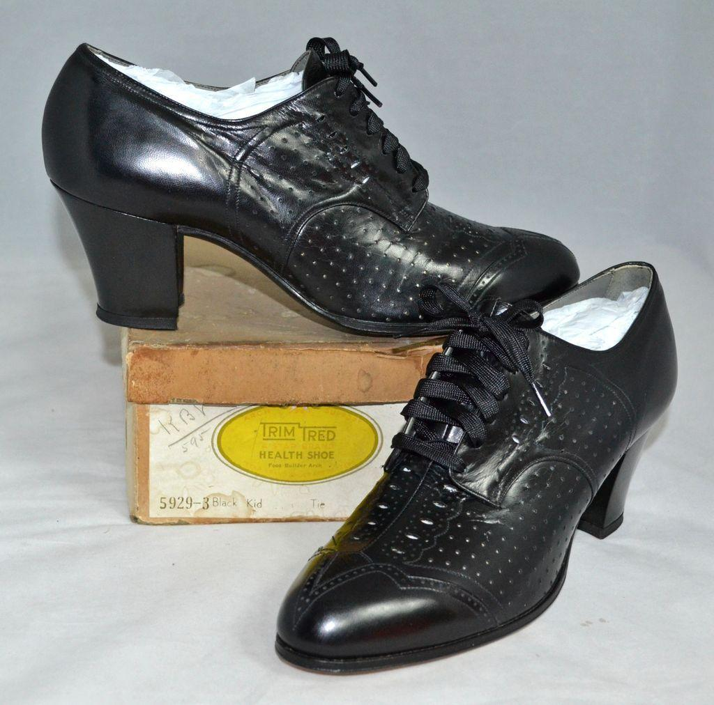 1930s Trim Tred ~ NOS Black Leather Spectator Style Lace-Up Witch from ...