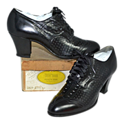 1930s Trim Tred ~ NOS Black Leather Spectator Style Lace-Up Witch Shoes w/ Original Box