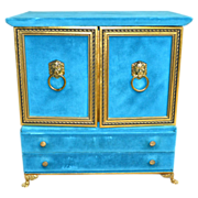 Huge Turquoise Blue Velvet Lion Doorknocker Jewelry or Chocolate Box