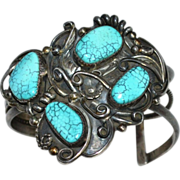 Chunky Old Pawn Spiderweb Turquoise Sterling Silver Cuff Bracelet