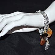 Set of 2 Germany Made Lucite & Natural Stone Charm Bracelets