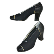 1930s Friedman-Shelby ~ NOS Gabardine Black Snakeskin Embossed Heel Shoes