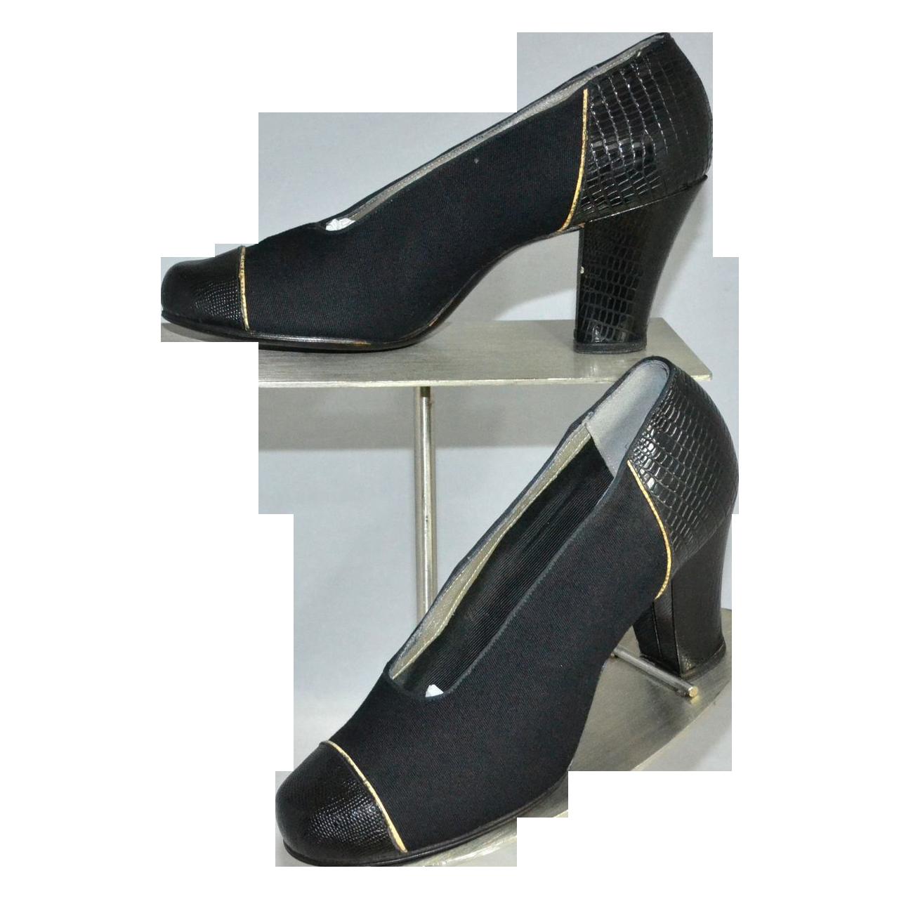 1930s Friedman-Shelby ~ NOS Gabardine Black Snakeskin Embossed Heel Shoes