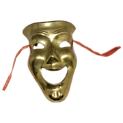 1970s Solid Brass Comedy Theatre Face Mask w/ Tassels